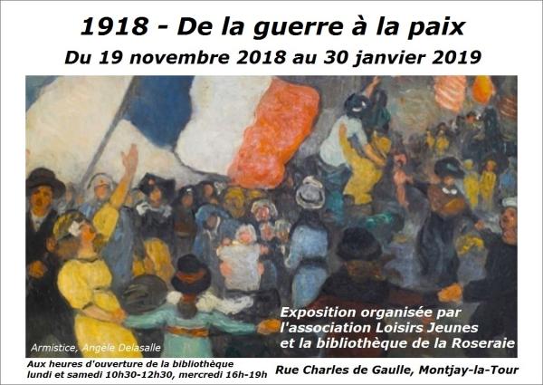 0AFFICHE 1918 de la guerre à la paix