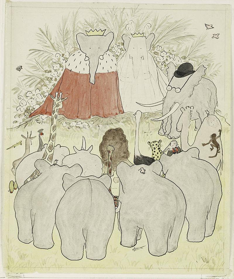 Mariage et couronnement du roi Babar et de la reine Céleste (aquarelle Histoire de Babar 1931)